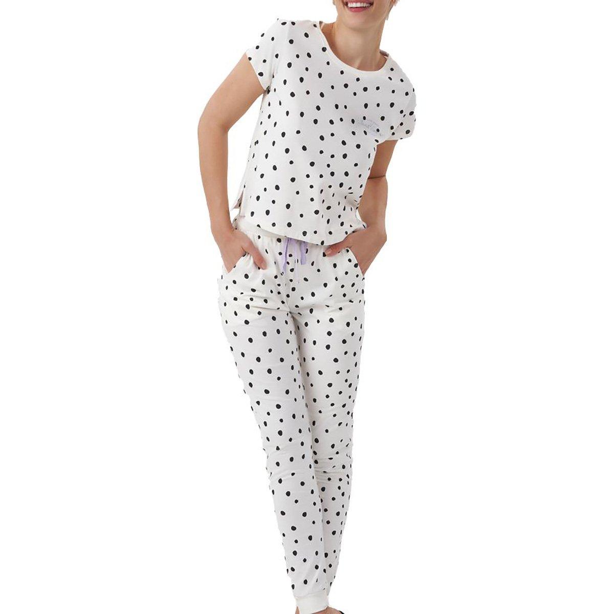 Pijama Cor Com Amor Longo Poá Feminino