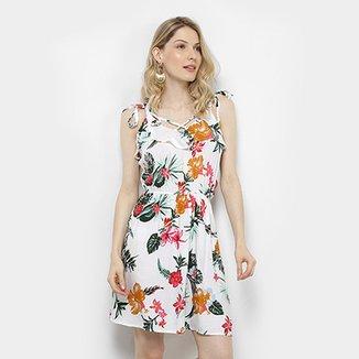 485be32ff Vestidos Yilang Curto Floral Alças Amarração Decote Cruzado