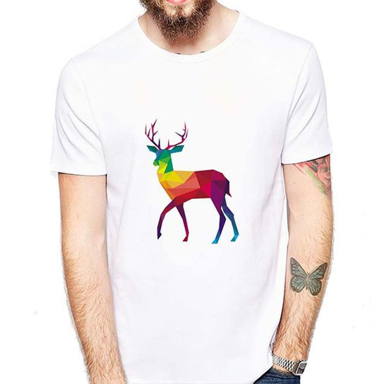 Camiseta Veado Colorido Masculina - Branco - Compre Agora  d37f3236aac7c