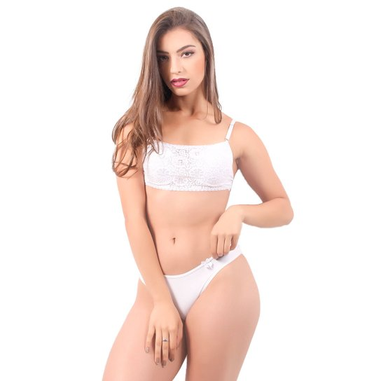 de1c403f3 Conjunto Lingerie Feminino com Renda Top Andy - Branco