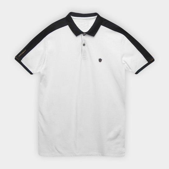 Camisa Polo Infantil Acostamento Logo Listra Ombro Masculina - Branco a44a4db4e68cd