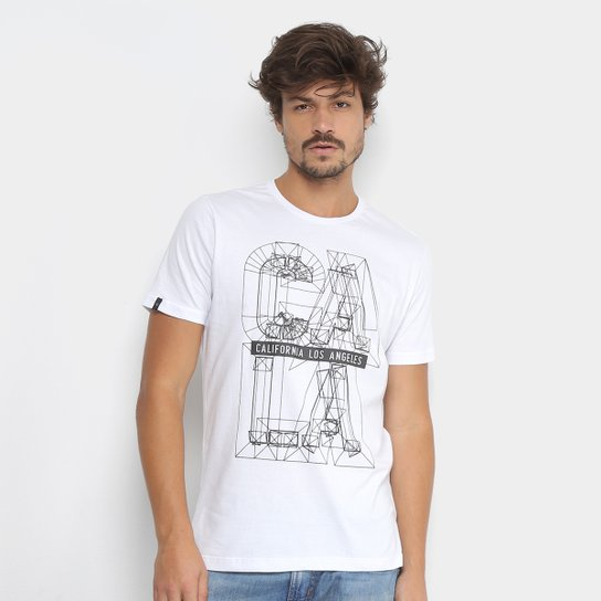 Camiseta All Free Estampada California Los Angeles Masculina - Branco 293da644a35