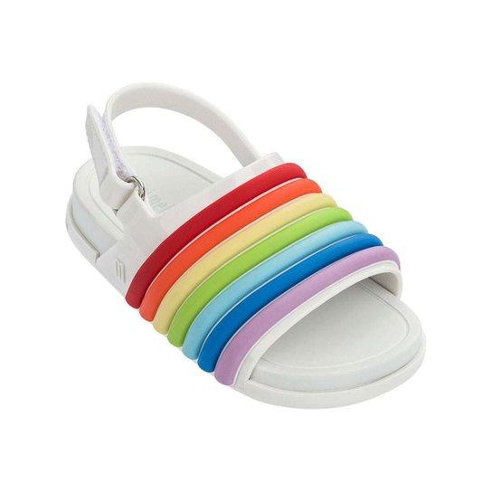 39aa7fd34c Sandália Mini Melissa Infantil Feminina Beach Slide Sandal Rainbow - Branco