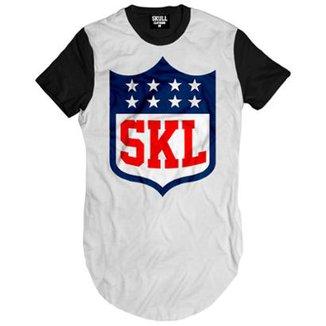 81c0b9a726f17 Camiseta Longline Skull League Clothing Masculina