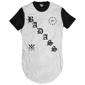 Camiseta Longline Skull Clothing Badass Masculina 9237feac77f