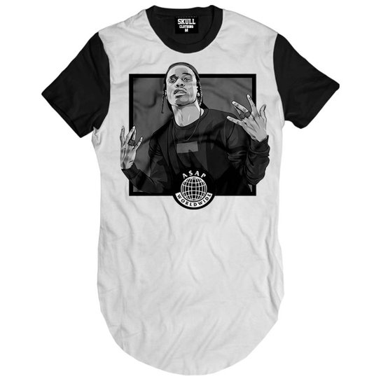 Camiseta Longline Asap Rocky Word Wide Masculina - Branco - Compre ... cdf876b5005