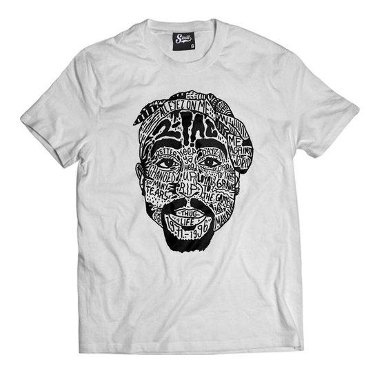 061161d362 Camiseta Skull Clothing Tupac Tattoo Masculina - Branco - Compre ...