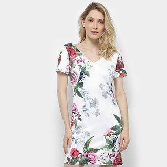 a83cf1c960 Vestido Lemise Tubinho Curto Floral Decote V