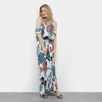 Vestido Longo Open Shoulder Lemise Estampado Floral Feminino 4bb8fa49ff