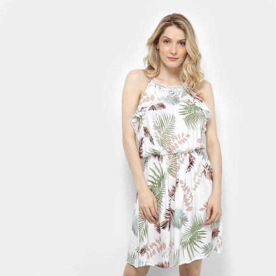 ad25c7f28a Vestido Pérola Evasê Curto Estampado de Folhagens Feminino - Branco ...
