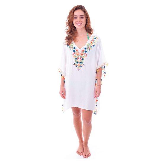 b6885ee79 Saída De Praia Shopping Bali Com Flores e Tassel - Branco | Zattini