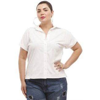 105a19847cd Camisa Melinde Plus Size Branca Ilhós nas Costas