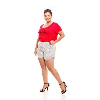 91a3219b7 Shorts Melinde Plus Size Granitê Listrado Feminino