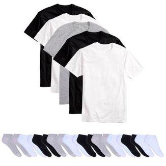 7ccd7c7501e24 Kit 5 Camisetas Básicas Masculina T-Shirt Algodão + 10 Pares De Meias  Soquete