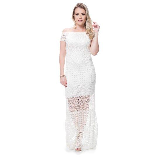 325b167fd Vestido Longo Sintonia Tricot Ombro A Ombro - Branco