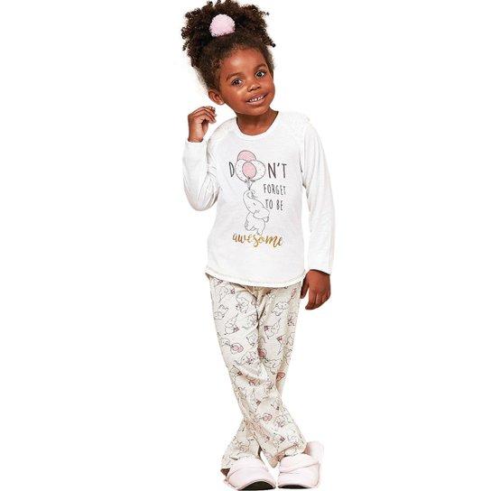520174072e825d Pijama Infantil Luna Cuore Inverno Estampado Feminina - Branco