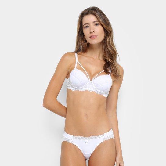 0eee9abfa Conjunto Lingerie LA MATH S Strappy Renda - Branco - Compre Agora ...