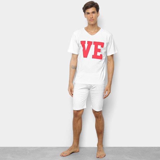 75c7fc455744c8 Pijama Be Cciolo Love Masculino - Branco e Vermelho