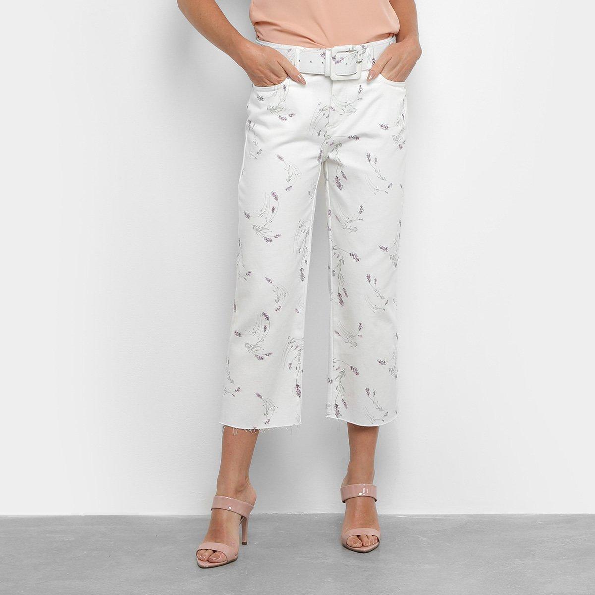 Calça Pantacourt Jeans Enna Reta Cropped High Feminina
