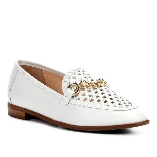 e78542fed85 Mocassim Couro Shoestock Tressê Feminino - Branco - Compre Agora ...