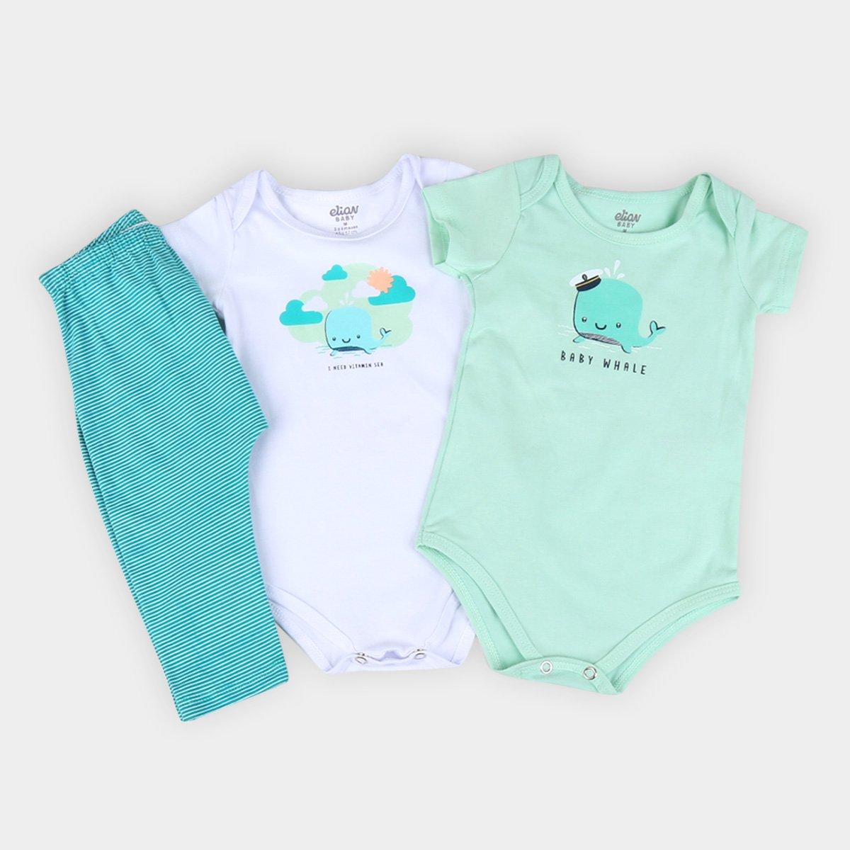 Kit 2 Body + Calça Bebê Elian Baby Menino