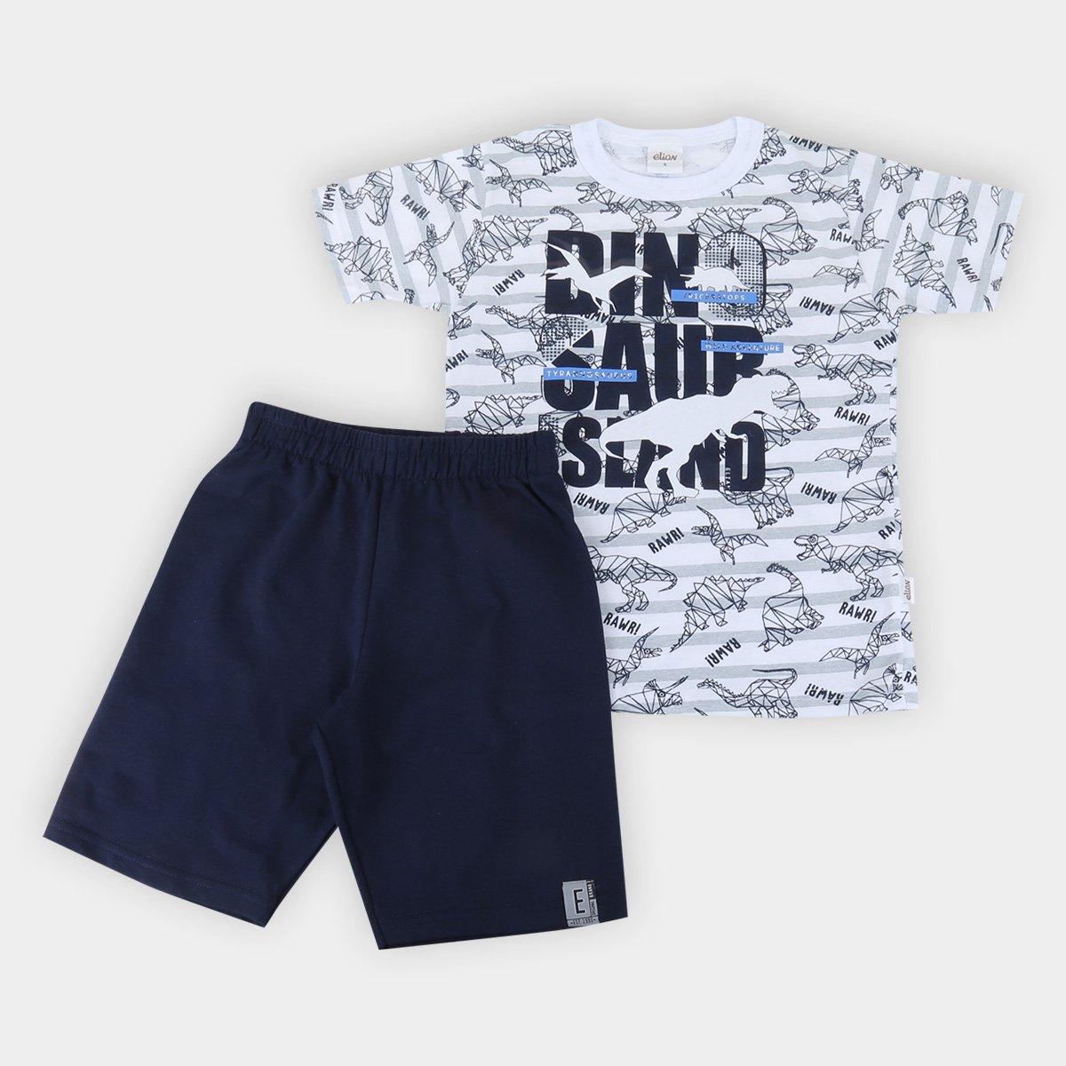 Conjunto Infantil Elian Camiseta Dinossauro e Bermuda Moletinho Masculino