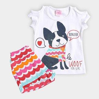 Conjunto Infantil For Girl Estampa Cachorro Feminino d597ac74000