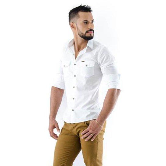 b855a34174ee7e Camisa Amil Safari Slim Manga Longa Masculina - Branco | Zattini