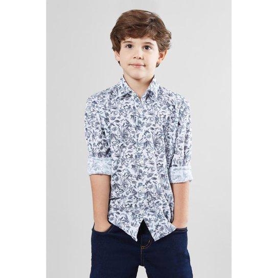 Camisa Infantil Mini Pf Ml Floral Carnaval Micro Reserva Masculina - Branco f566306c903