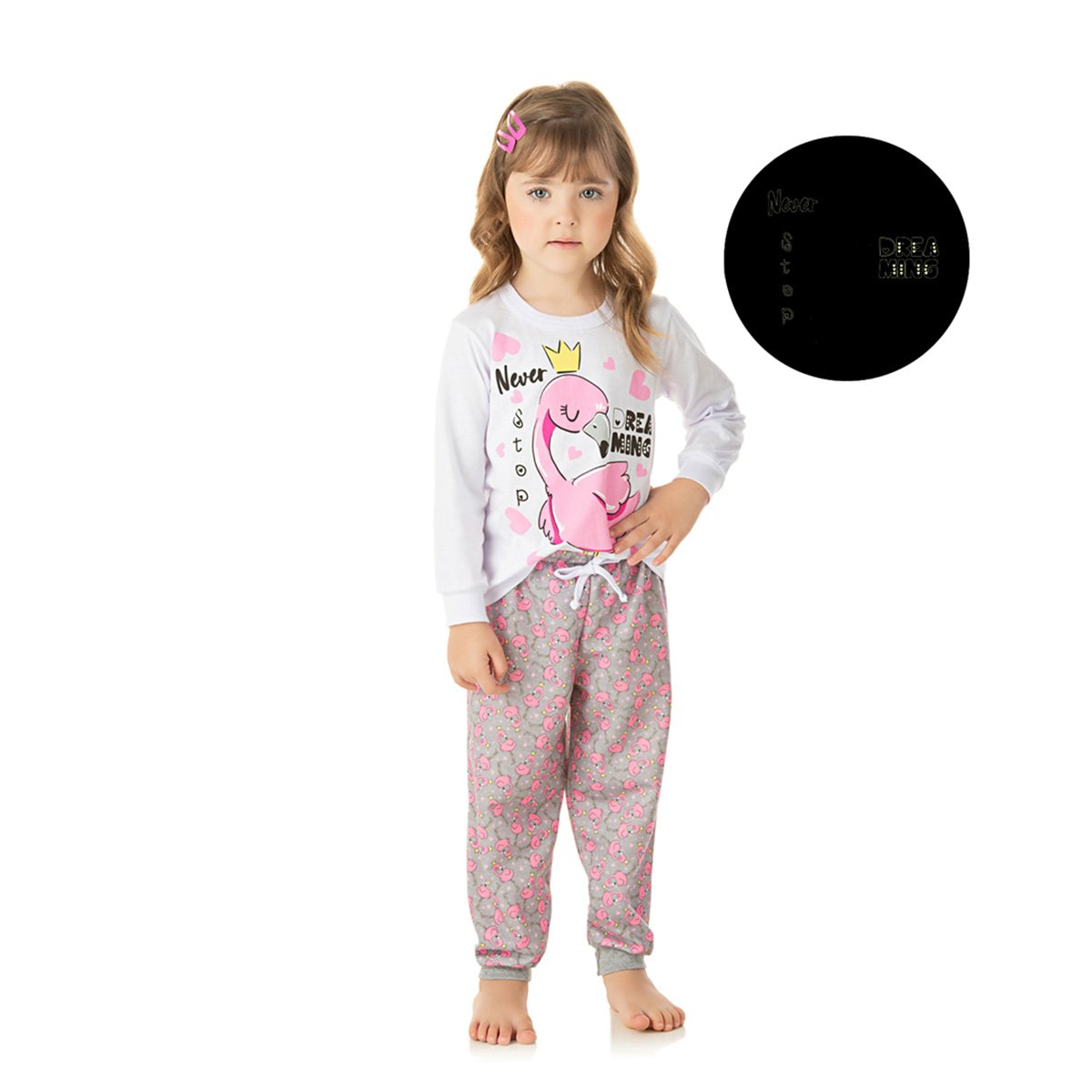 Pijama Bebê Longo Duzizo Moletom Flamingo Brilha no Escuro