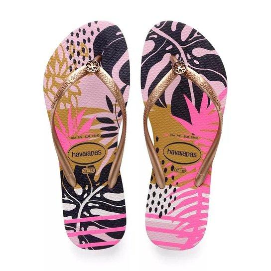 a1fd06b35ac3 Chinelo Havaianas Slim Foliage Feminino - Rosa e Dourado - Compre ...