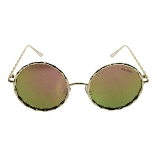 Óculos de Sol Solar Redondo 35 Feminino - Rosa e Dourado - Compre ... bc7261c8ec