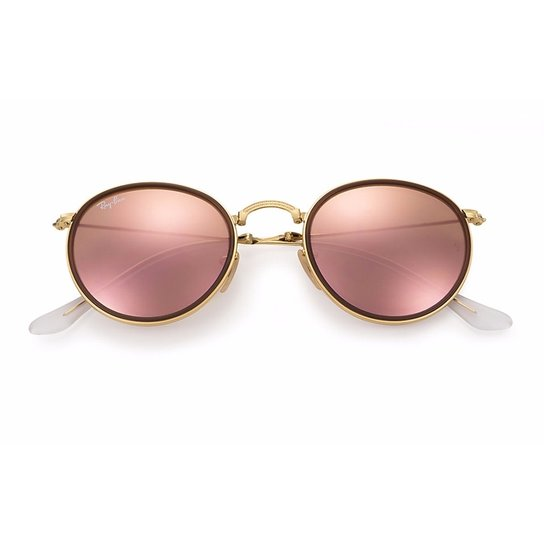 34bad9ca2 Óculos de Sol Ray Ban Round Dobrável - Rosa e Dourado | Zattini