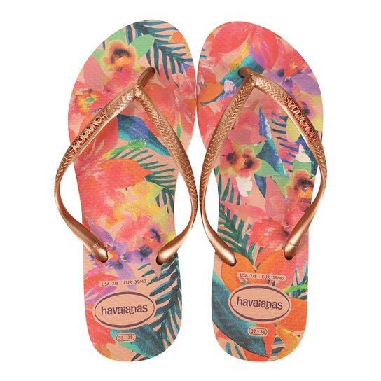 7800435767 Sandália Havaianas Slim Tropical Feminina - Rosa Escuro - Compre ...
