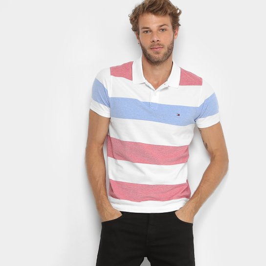 a44937361 Camisa Polo Tommy Hilfiger Piquet Slim Listras Masculina - Vermelho