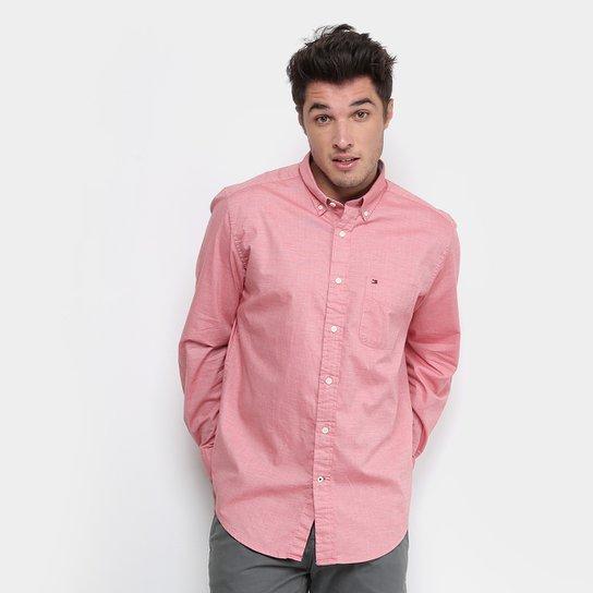 36ab5f36927 Camisa Tommy Hilfiger Manga Longa Regular Fit Masculina - Vermelho ...