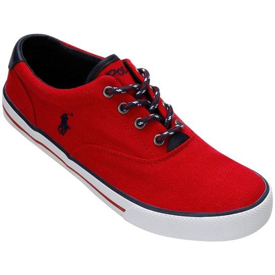 5877d5e779779 Tênis Polo Ralph Lauren Vaughn Low Canvas Juvenil - Vermelho