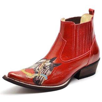 838b5ba3b Bota Country Top Franca Shoes Bico Fino Verniz Masculino
