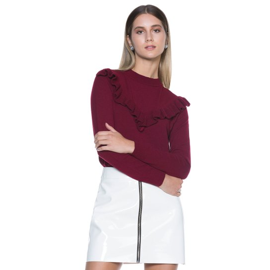 Suéter Amaro Feminino Com Babado Tricot - Compre Agora   Zattini 878dc7f693