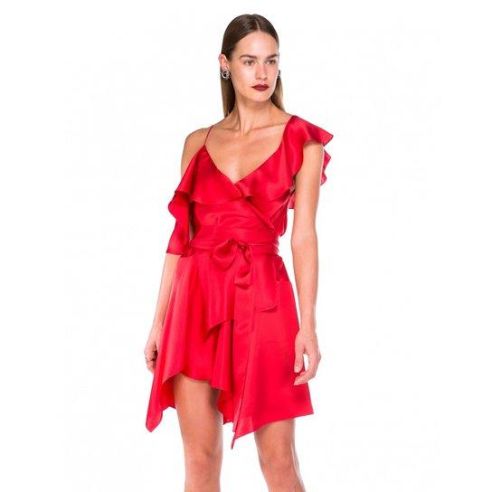 edd72bf18 Vestido Amaro De Seda Babados - Vermelho - Compre Agora