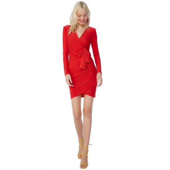 3c453ba257 Vestido Amaro Curto Jersey Manga Longa - Vermelho