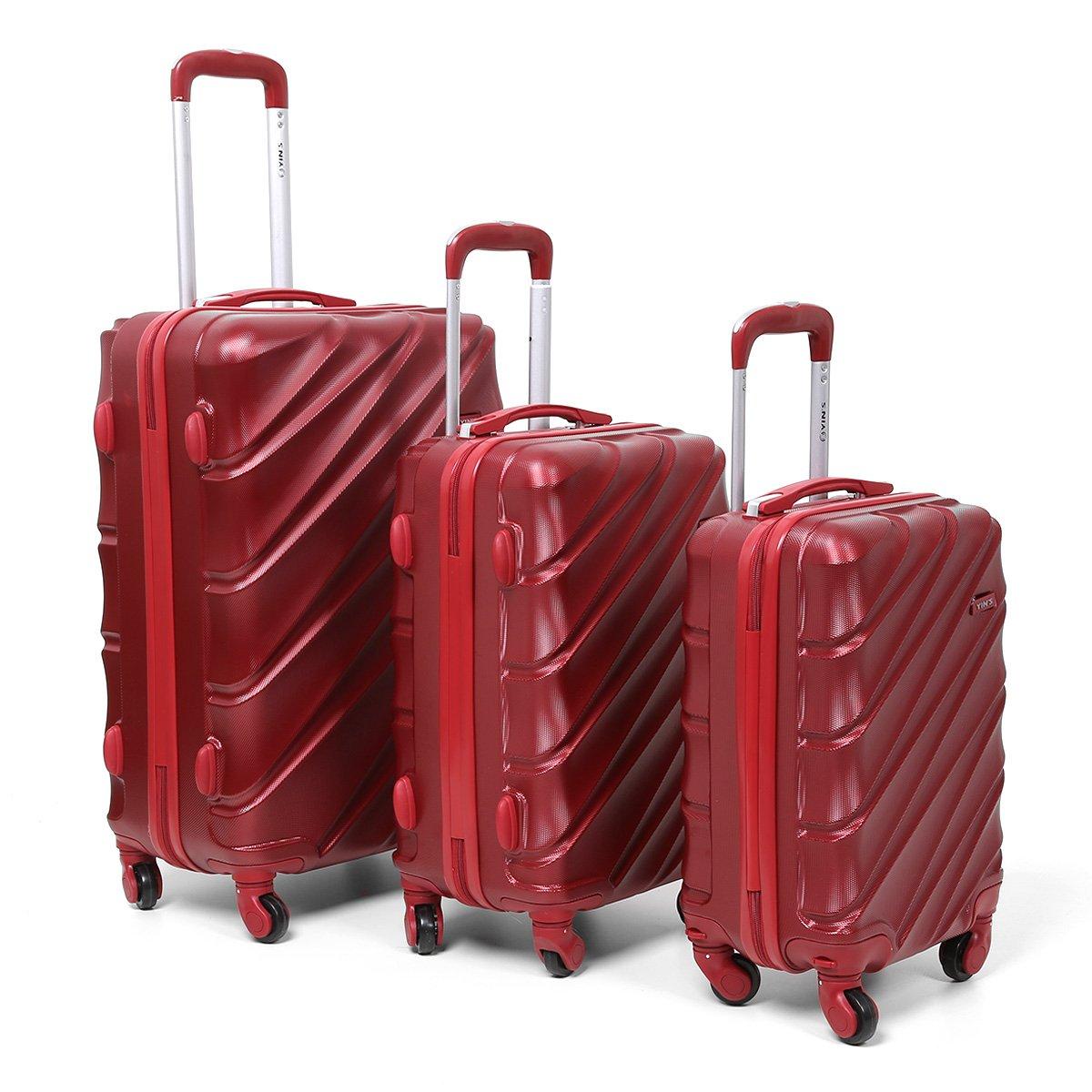 Conjunto de Malas de Viagem Yins Brasil Com Rodinhas ABS 3 unidades