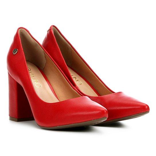 0863a90157 Scarpin Via Uno Salto Quadrado Feminino - Vermelho