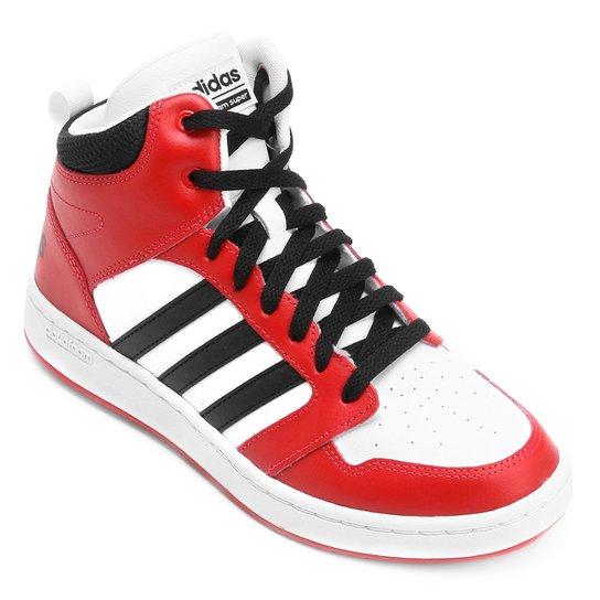 8cd0a2cdf Tênis Couro Cano Alto Adidas Cf Super Hoops Mid Masculino - Vermelho