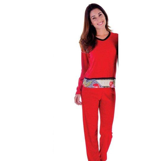 b06905b69467 Pijama Feminino Victory Plush Inverno Frio Longo Adulto - Vermelho ...