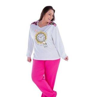 b3981b645 Pijama Feminino Victory Plus Size Inverno Frio Longo Canelado