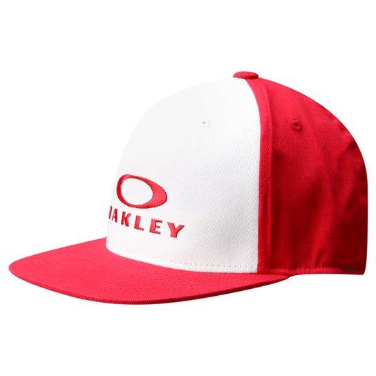 Boné Oakley 110 O-Justable 6 Panel Fle - Branco e Vermelho - Compre ... c4f09a26ab0