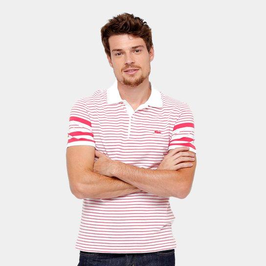 5f54ee8831 Camisa Polo Lacoste Piquet Listras Regular Fit Croco Shade Masculina -  Vermelho
