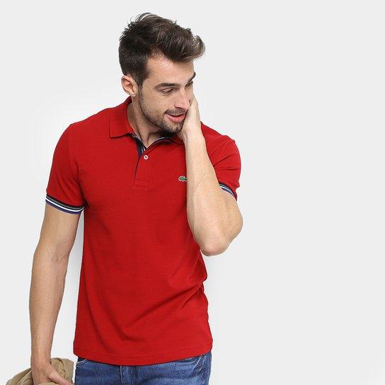 7ba850847ad32 Camisa Polo Lacoste Piquet Slim Fit Frisos Manga Masculina - Vermelho