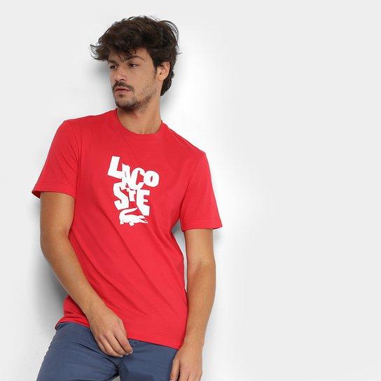 bd5cac549f1 Camiseta Lacoste Estampada Logo Masculina - Vermelho - Compre Agora ...